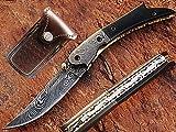AishaTech Carbs Pocket Knife Damascus Steel Blade Horn Handle
