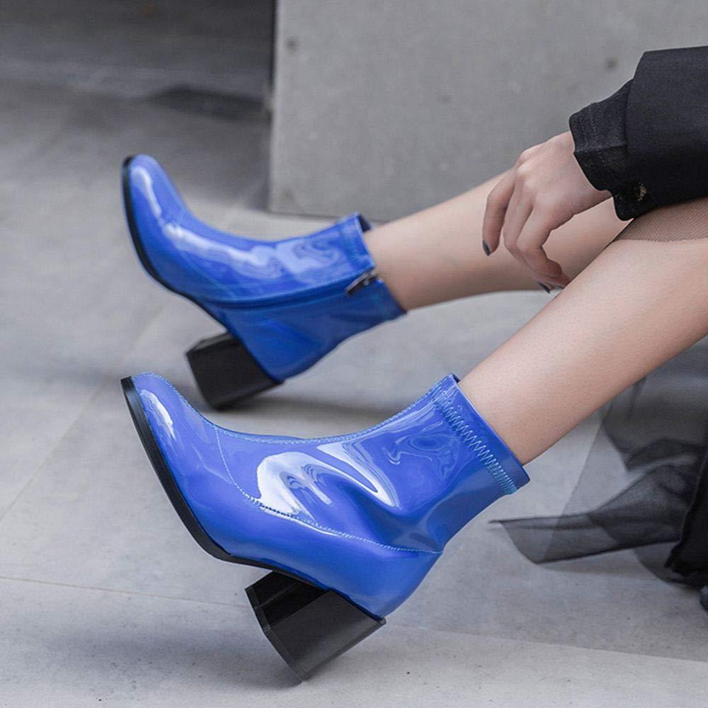 ファッション [KemeKiss] 光沢感 レディース 太ヒール ショートブーツ