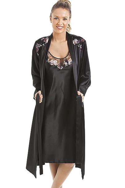 Camille Womens Ladies Nightwear Luxury Black Satin Long Sleeve Nightshirt