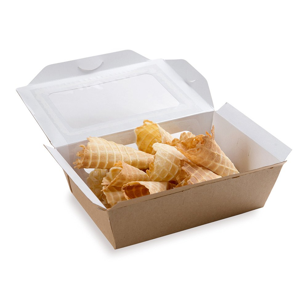 Paper Lunch Box, Take Out Lunch Box, To Go Lunch Box with Two Windows - Medium Sized at 35 oz - Cafe Vision - 200ct Box - Restaurantware