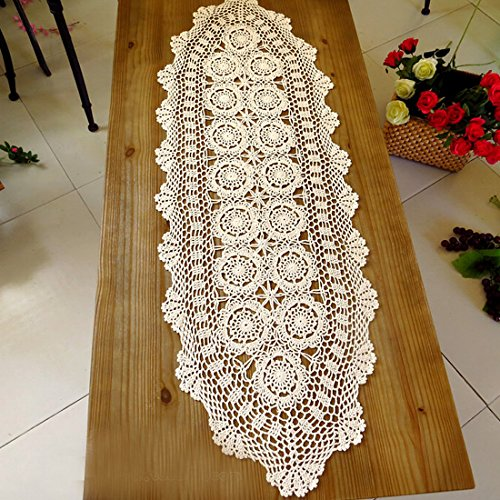 Oval Tablecloth Crochet Pattern (kilofly Handmade Crochet Cotton Lace Table Runner Tablecloth, 15 x 43 inch)