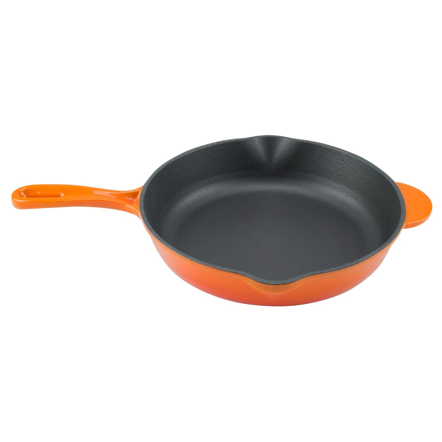 Zelancio Enameled 10-Inch Cast Iron Skillet, Oven Safe Smooth Surface Frying Pan. Perfect for Steak, Fajitas, Eggs, and So Much More, Orange
