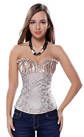 Colyanda Womens Sexy Plus Size Corset Overbust Lace Up Boned Bustier  Bodyshaper Top(Apricot 4XL f64e56ab7