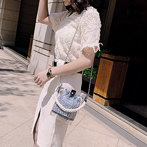 Rivets Bucket Bags Women Beach Aediea Chain Clear 3 PVC Handbags Messenger Shoulder fwzaXB