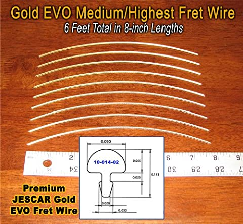 Guitar Fret Wire - Jescar Gold MEDIUM/HIGHEST Size - Six Feet - Bass Fret Wire