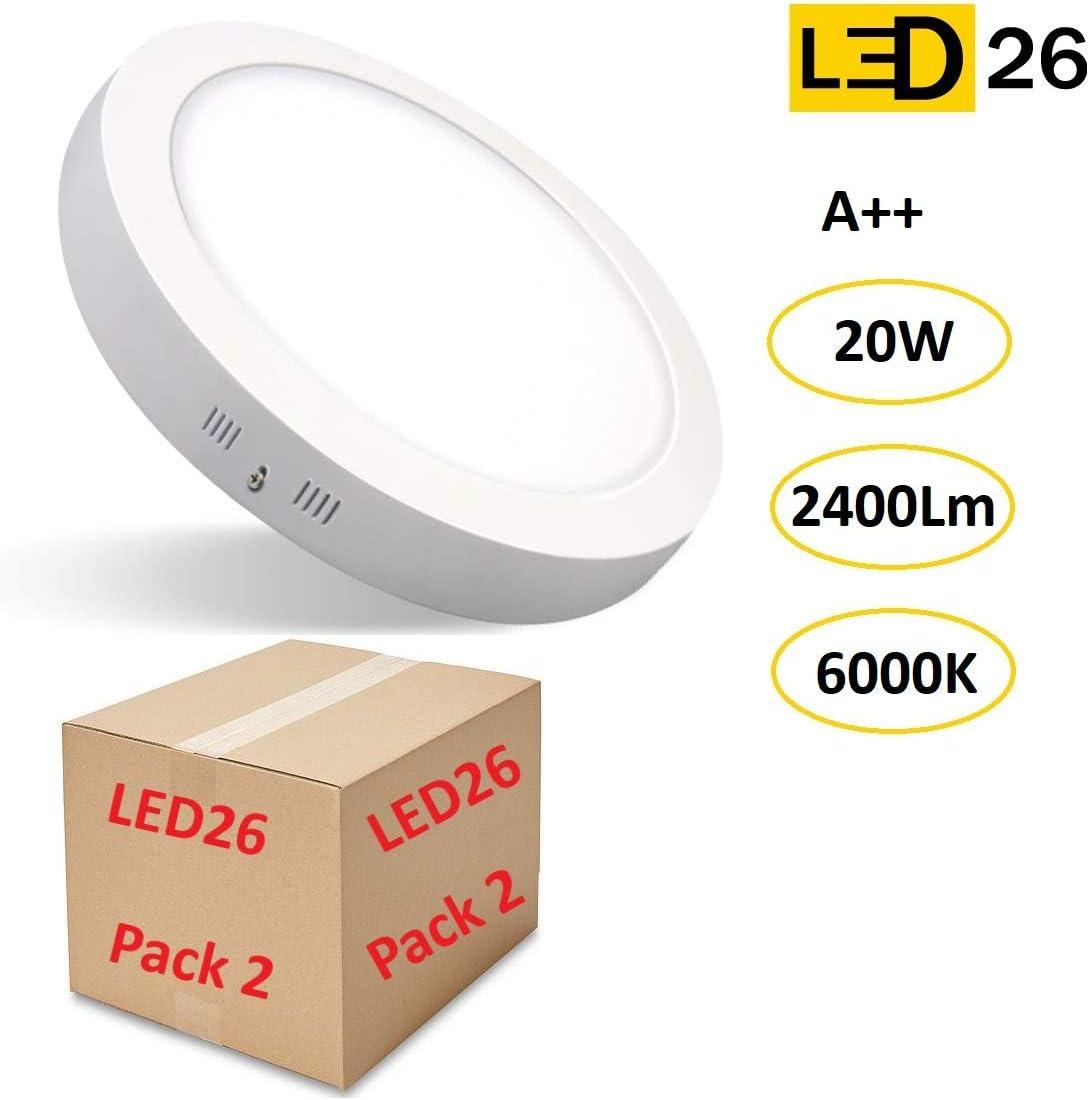 PACK DE 2 DOWNLIGHT PANEL SUPERFICIE LED CIRCULAR 20W plafon Redondo Para Techo y Pared LUZ BLANCA FRÍA [Clase de eficiencia energética A++]