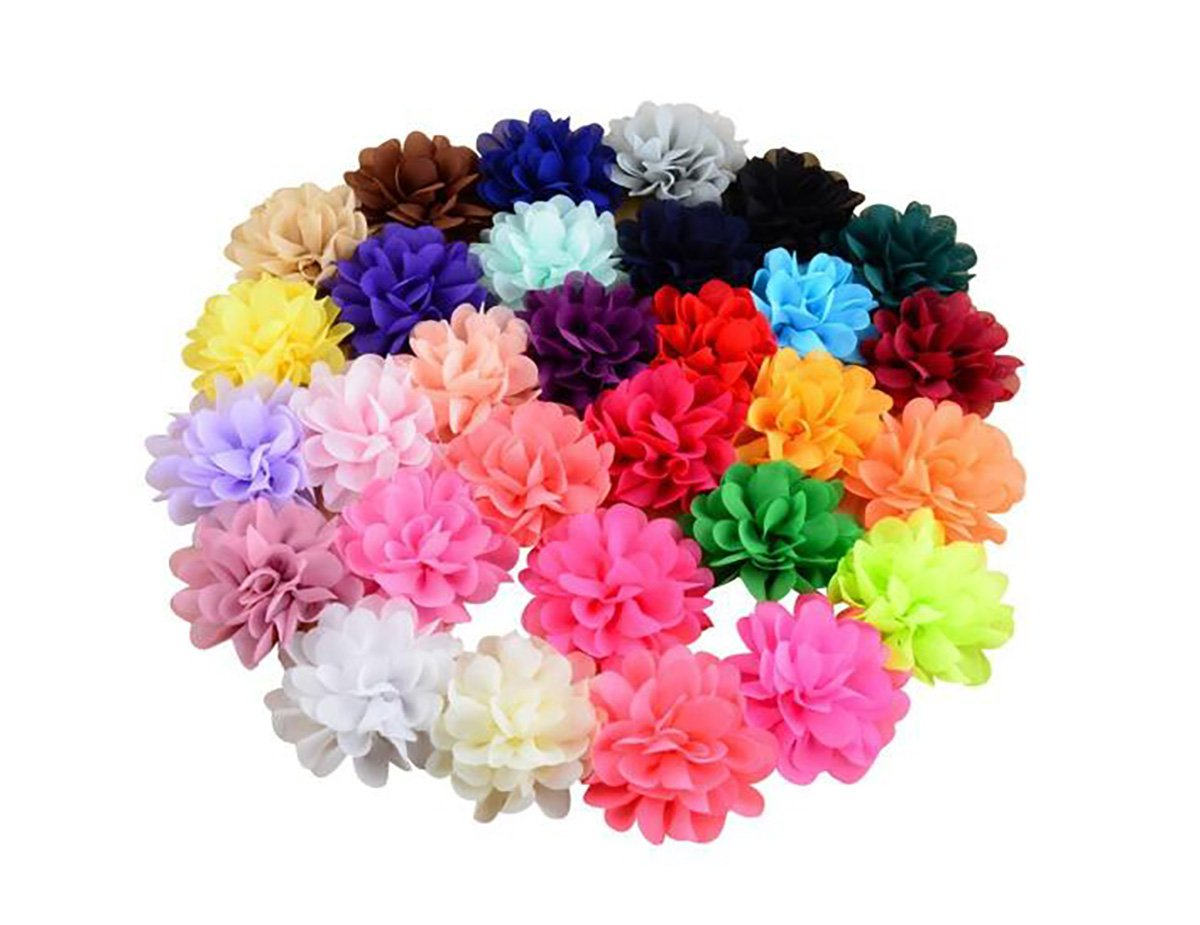 30PCS Women Girls 30 Solid Colours 4'' Chiffon Fabric Flowers Baby DIY Flower Headbands Decorative Wedding Flowers