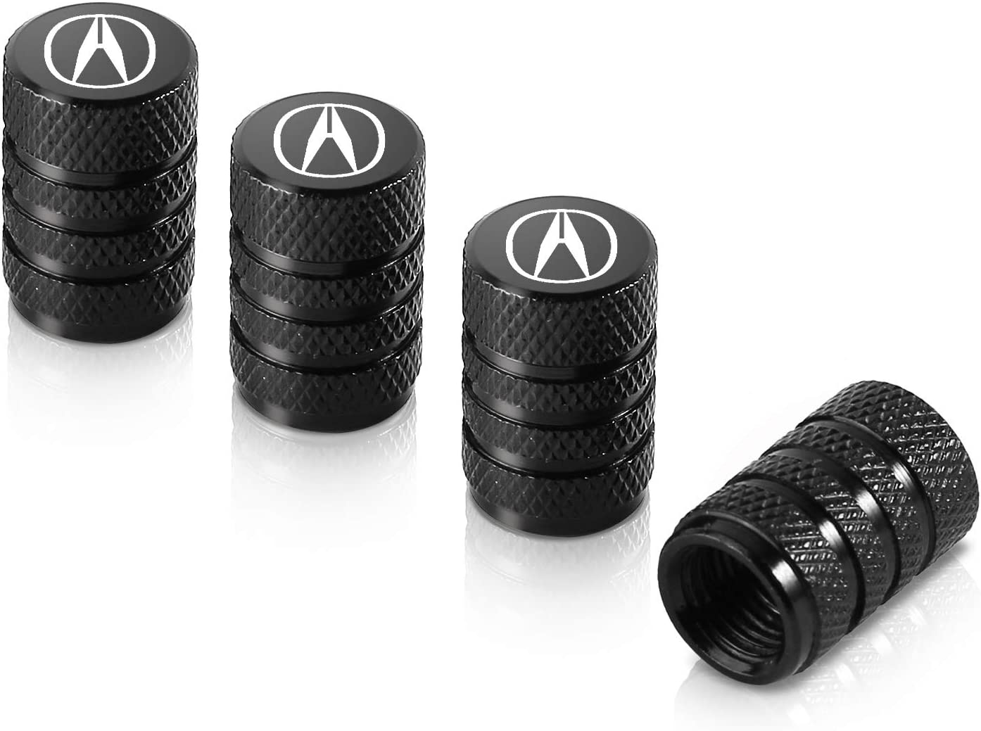 Qideloon Auto 4 Pack Tire Valve Stem Caps,Universal Aluminium Stem Covers Fit for Acura Accessories