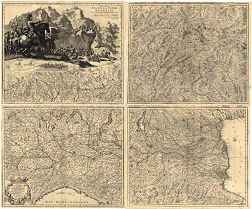 1705 map: Spanish Succession, Northern Italy Le grand teatre de la guerre en Ita
