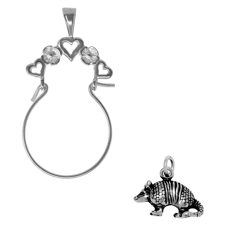 Raposa Elegance Sterling Silver 3D Armadillo Charm on Optional Charm Holder