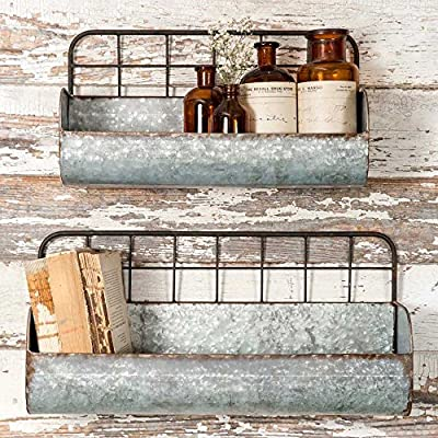 "Colonial Tin Works Set of Two-Decorative Wire Back Wall Shelves-Industrial, Rustic Grey/Rust - Decorative Wall Shelves Set of Two Measures Large: 18½"" x 6"" x 9"". Small: 15"" x 5"" x 8 - wall-shelves, living-room-furniture, living-room - 61yLdju9dxL. SS400  -"