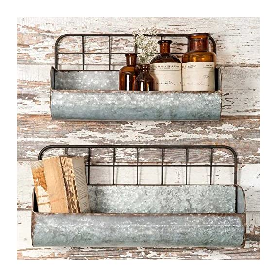 "Colonial Tin Works Set of Two-Decorative Wire Back Wall Shelves-Industrial, Rustic Grey/Rust - Decorative Wall Shelves Set of Two Measures Large: 18½"" x 6"" x 9"". Small: 15"" x 5"" x 8 - wall-shelves, living-room-furniture, living-room - 61yLdju9dxL. SS570  -"