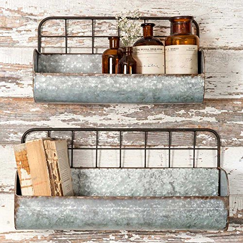 - Colonial Tin Works Set of Two-Decorative Wire Back Wall Shelves-Industrial, Rustic Grey/Rust