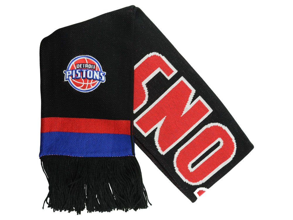 Detroit Pistons ''Blackout'' Team Stripe Scarf - NBA Fashion Winter Scarf by Mitchell & Ness