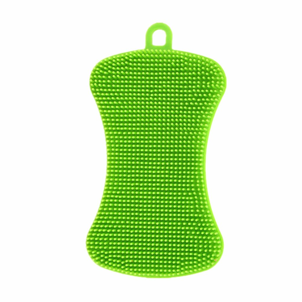 💗 Orcbee 💗 _1 PC Silicone Dish Washing Sponge Scrubber Kitchen Cleaning Antibacterial Tool
