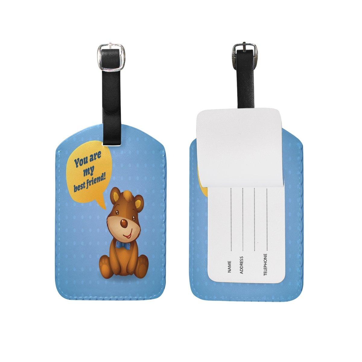 Saobao Travel Luggage Tag Teddy Bear PU Leather Baggage Travel ID