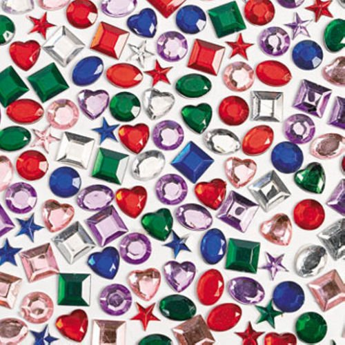 Tytroy Plastic Adhesive Back Craft Jewels Birthday Party Scrapbook Dress Up Bedazzled Activity (500 Assorted (Back Jewels)