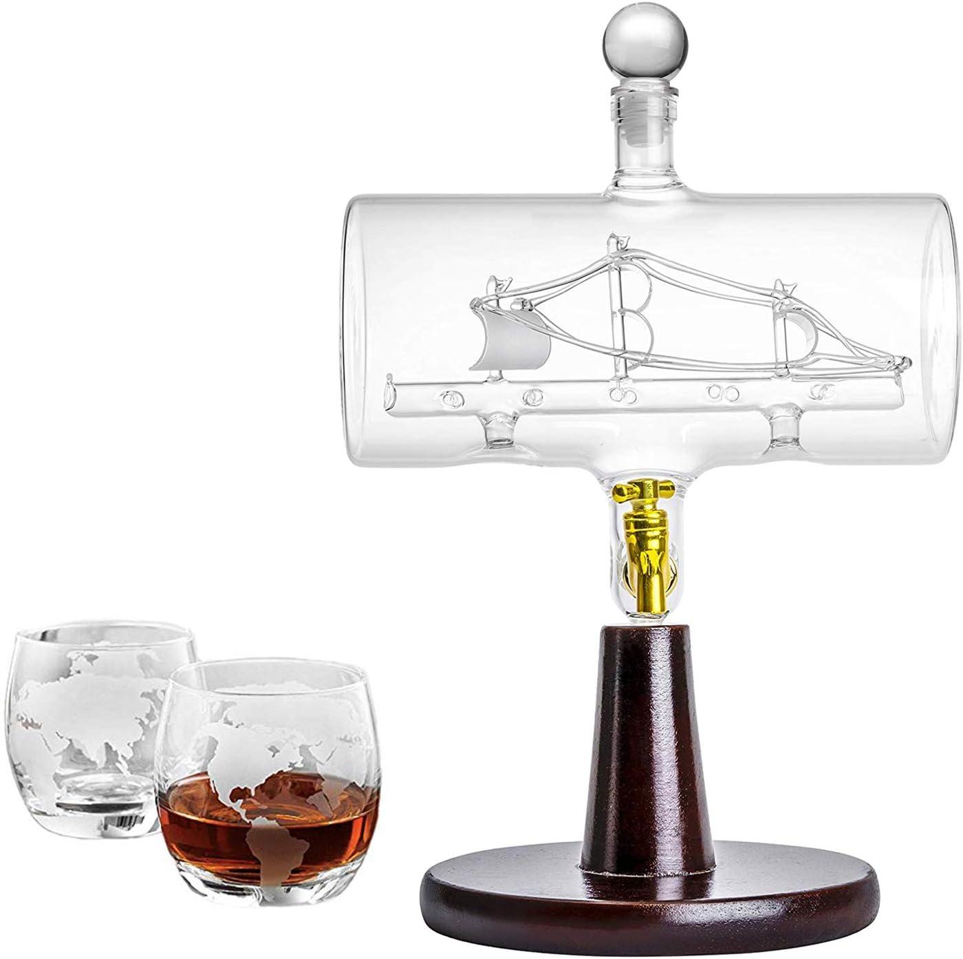 Large 40 Oz 'Magellan' Handmade Whiskey Dispenser Liquor Decanter with Ship inside, Wooden Stand, Bar Funnel and 2 Globe GLasses