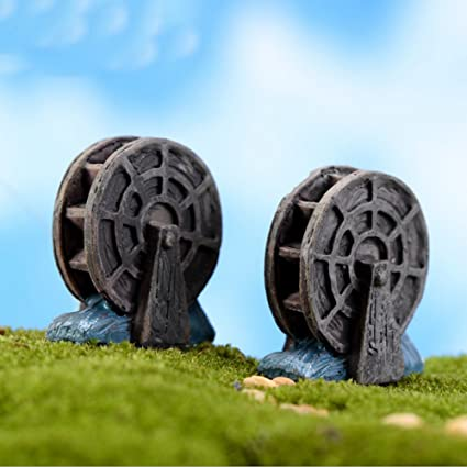 4 Pcs/lot Mini Vintage Waterwheel Miniature Fairy Garden Home Decoration  Houses Craft Micro Landscaping