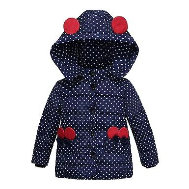 XXYsm Mantel Winter Baby M/ädchen Polka Dots Jacke mit Kapuze mit Ohren Warme Steppjacke