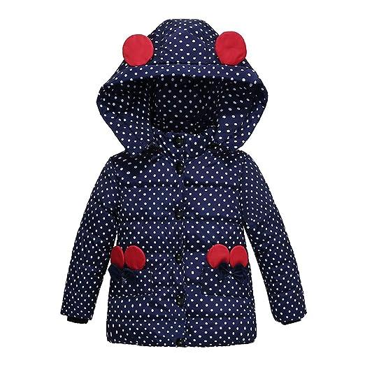 Ankola Down Jacket Baby Girls Hooded Snowsuit Winter Warm Padded Hooded Down Windproof Jacket Coat (