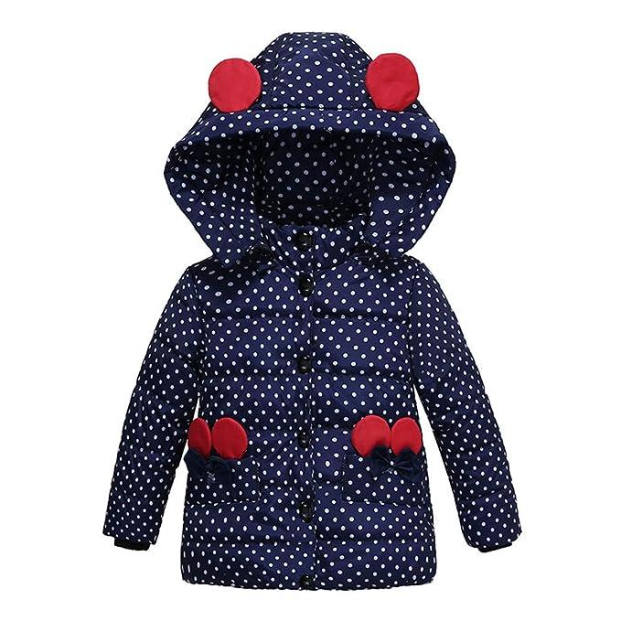 3f79b059e4e4 Amazon.com  GoodLock Baby Girls Thick Coat Kids Fashion Padded Dot ...