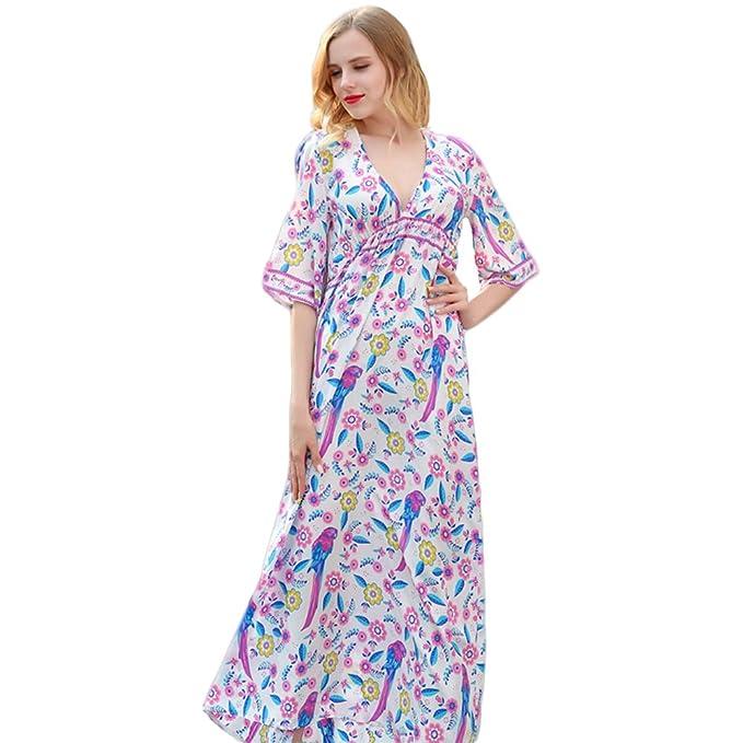 ONEFENG Mujeres Casual Elegante Bohemio Algodón Vestido 2018 Señoras Florales agraciado Vestido Largo Fiesta de Noche Vestido de Cóctel: Amazon.es: Ropa y ...