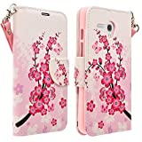 COVERLABUSA Compatible for Jitterbug Smart Case, Coverlab Luxury PU Leather Wallet Flip Protective Case Cover with Card Slots and Stand for Jitterbug Smart 5.5 (Cherry Blossom)
