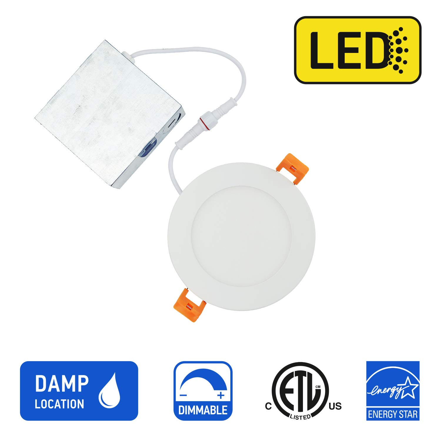 OSTWIN 4 inch LED Recessed PROFILE SLIM ROUND PANEL Light with Junction Box, Dimmable, 12W (90 Watt Replacement), 3000K (Warm White), 900 Lumens, No Can Needed, ETL and Energy Star Listed