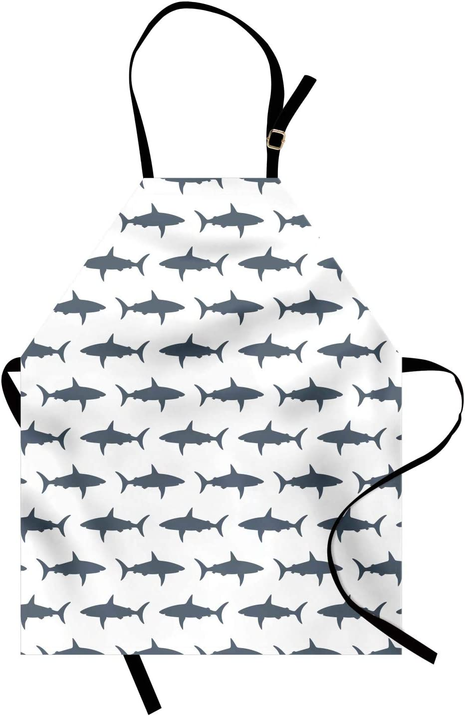 Ambesonne Sea Animals Apron, Sharks Swimming Horizontal Silhouettes Powerful Dangerous Wild Life, Unisex Kitchen Bib with Adjustable Neck for Cooking Gardening, Adult Size, Charcoal Grey