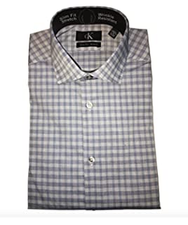 6a1d317d Calvin Klein Mens Dress Shirts Non Iron Slim Fit Gingham Spread Collar