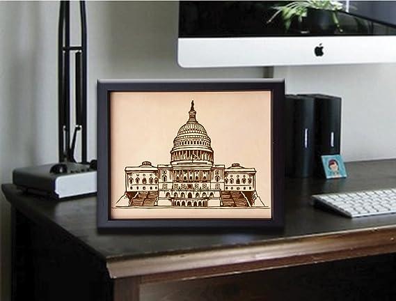 Lik127 Leather Engraved Washington DC White House Wedding Third Anniversary housewarming gift