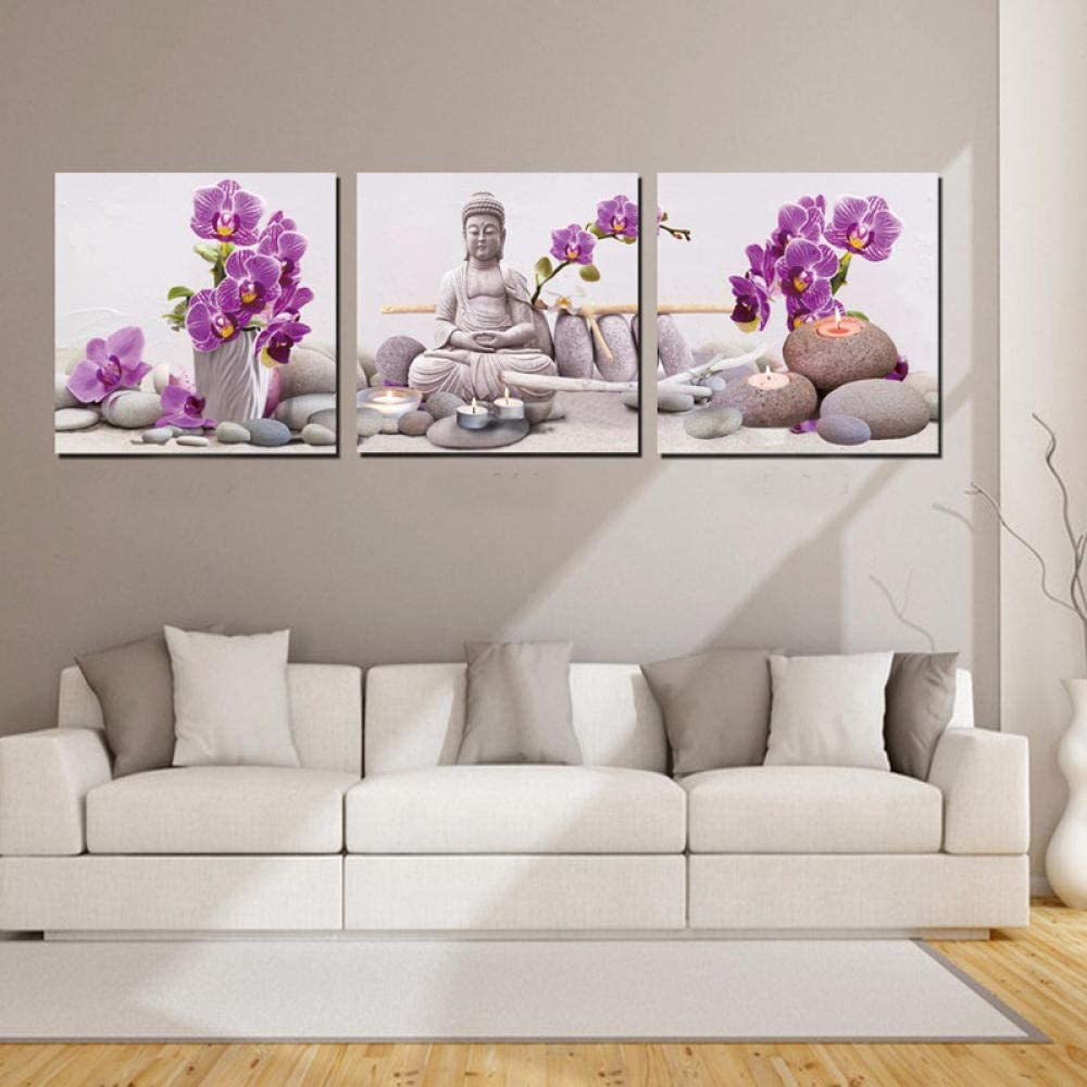 EZEZWSNBB Cuadro en Lienzo Orquídea Morada y Zen Imagen Moderno Lienzo Pintura 3 Paneles Arte Pinturas Impresiones Sala Tamaño De Marco -40 x 40 cm x 3 Piezas (Marco de Madera)