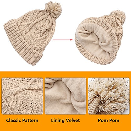 Beanie Hat Glove Scarf Set Knit Soft Warm Pom Pom Touch Screen New Design Best Gift for Friend Lover Family