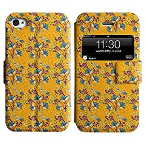 AADes Scratchproof PU Leather Flip Stand Case Apple iPhone 4 / 4S ( Birds And Flowers )