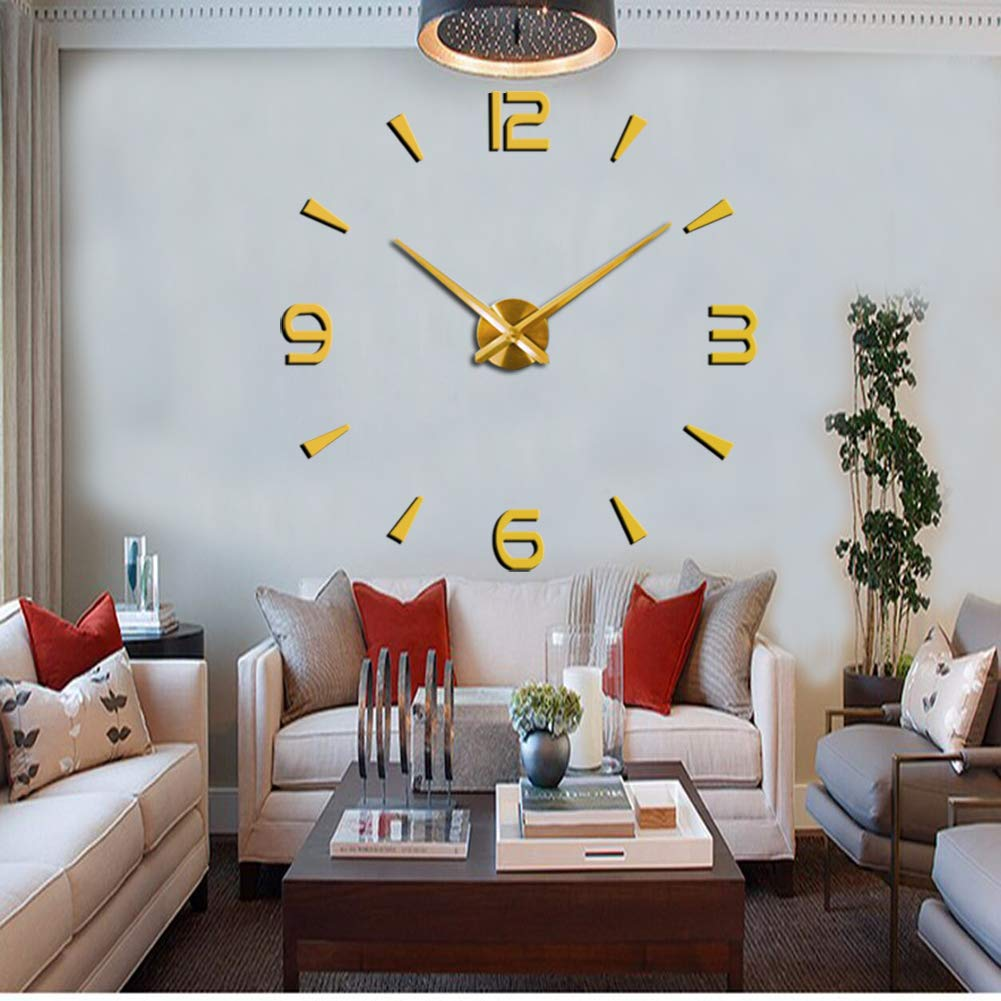 CreationStore Wall Decor Frameless Clock 3D DIY Mirror Surface Wall Sticker Clocks Large Size Wall Decorative Clock for Living Room Bedroom Office Hotel (Gold)