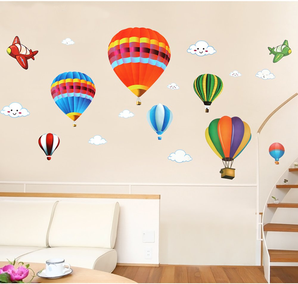 Colorful Hot Air Ballon Aircraft and Clouds Wall Decal Peel& Stick Wall Sticker Kids Room Nursery Wall Décor