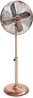 Navaris Ventilatore a Piantana Design in Rame - Rotore 40cm 55W - Altezza Regolabile Max 1.3m - 3 velocità Oscillante Inclinabile - Base Tonda 4 Pale