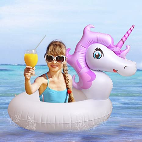 Mini Unicornio Flotador/Hinchable-Juguete Inflable Flotante Anillo de Natación en Piscina y Mar