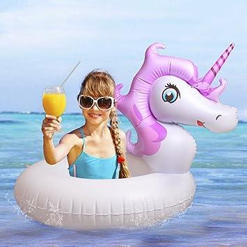 Mini Unicornio Flotador/Hinchable-Juguete Inflable Flotante Anillo de Natación en Piscina y Mar-Jueguete de Baño para Niños, Disfrutar del Fresco Acuático: ...