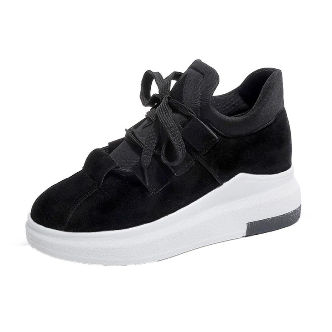 AutumnFall Spring Autumn Winter Women Thick Bottom Heighten Sports Shoes Soft Casual Shoes (US:6.5, Black)