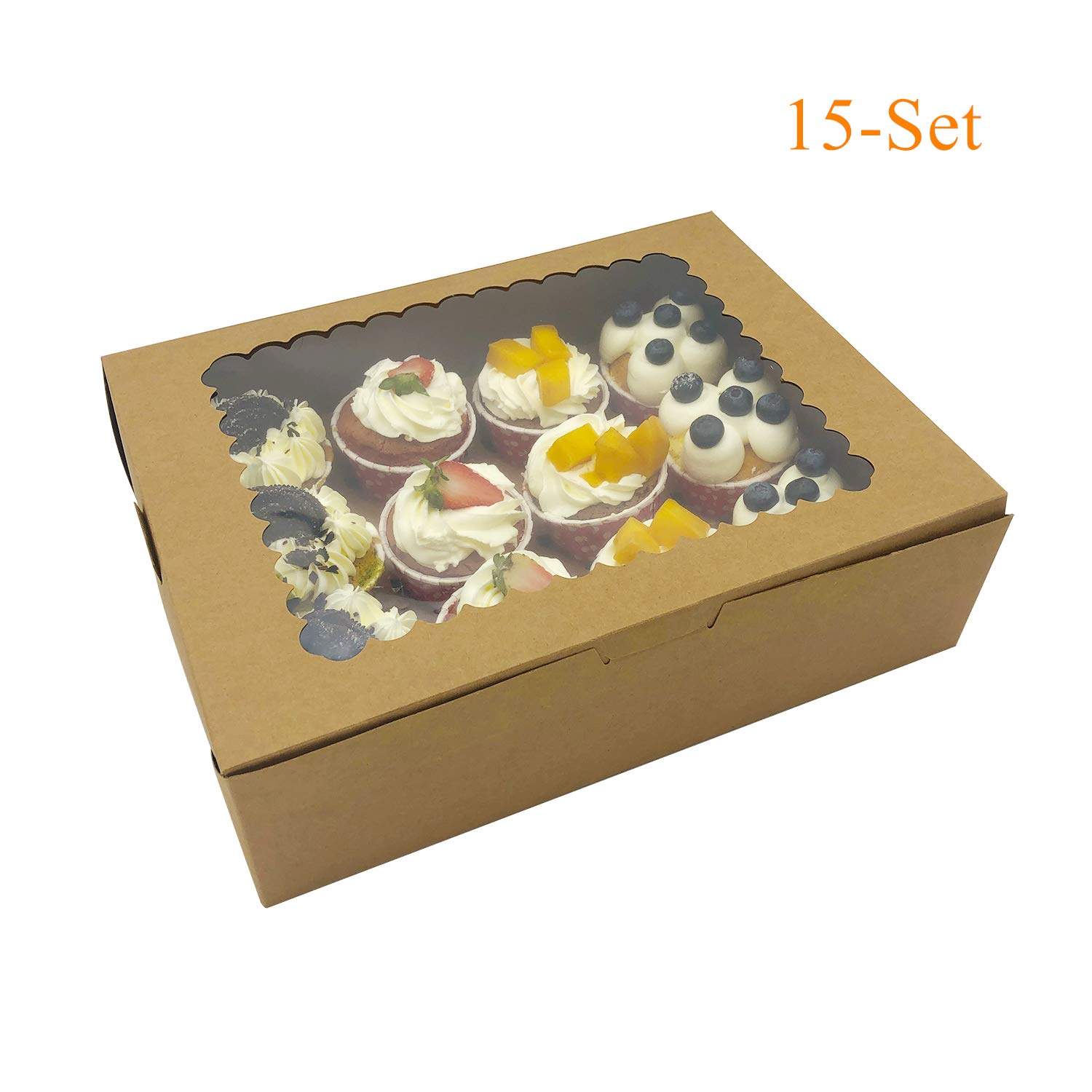 15-Set Cupcake Boxes Holds 12 Standard Cupcakes, Brown Cupcake Carrier, Cupcake Containers, Food Grade Kraft Cupcake Holders for Cookies, Bakeries, Muffins and Pastries