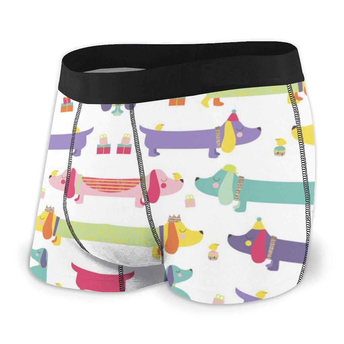 Yiyingzhang Mens Breathable Underwear Kawaii Sausage Dog Comfortable Boxer Briefs