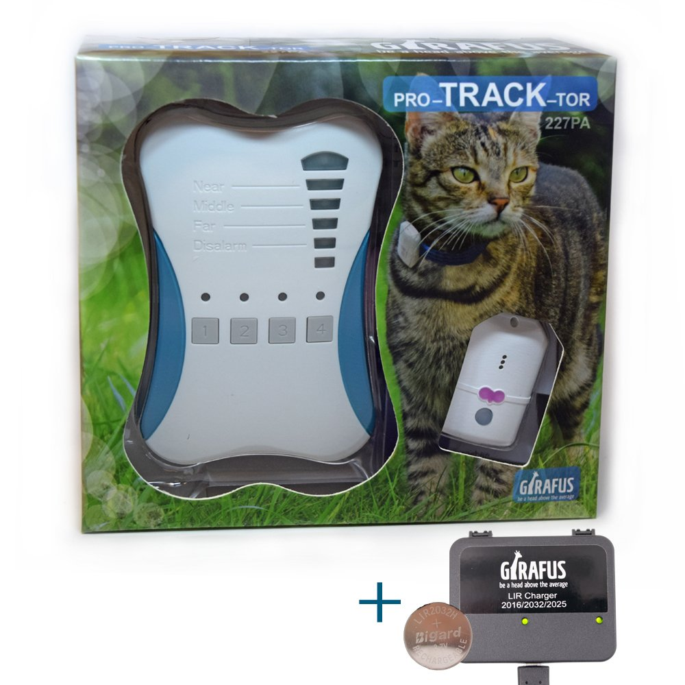 Girafus Cat Tracker RF Finder Longest Range up to 1600 ft lightest pet Safety Tracking Device only 0.28oz Small Pets Dog Pro-Track-tor Pet Tracker by Girafus
