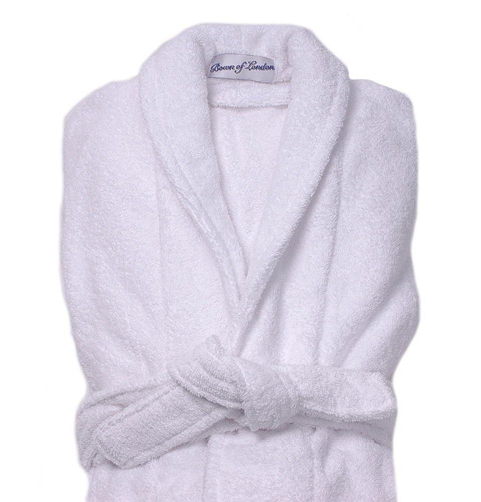 Bown Mens Mens Dressing Gown Terry Cotton Bath Robe White