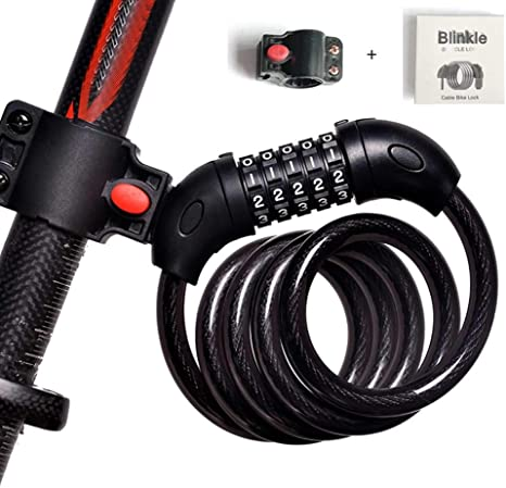 4ft Heavy Duty Security 5 Digit Combination Bike Cable Lock w// Mounting Bracket