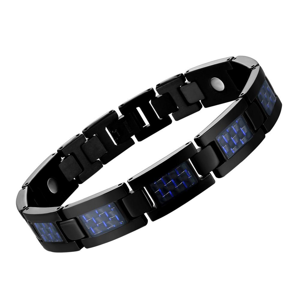 MASALING Blue Carbon Fiber Titanium Magnetic Therapy Bracelet for Pain Relief Arthritis and Carpal Tunnel