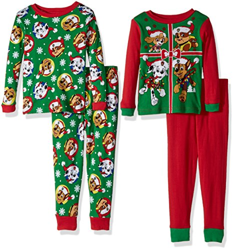 Nickelodeon Toddler Boys' Paw Patrol 4-Piece Cotton Pajama Set, Holiday Green, 2T -