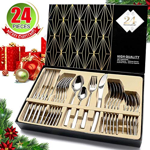 Silverware Set, HOBO 24-Piece Stainless Steel Flatware Cutlery Set, Service for 6, Include Knife/Fork/Spoon/Teaspoon, Mirror Finish, Smooth Edge,with GIft Box