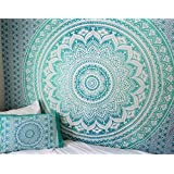 Turquoise Mandala Tapestry, Mandala Bedspread, Green Blue Ombre Large Tapestry, Hippie Tapestry, Boho Tapestry, Bohemian Picnic Blanket